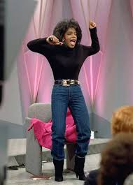 Oprah lost 67 pounds after completing a liquid diet. Two days after this show was aired and she stopped the liquid diet, she admitted that she could no longer fit into those jeans.